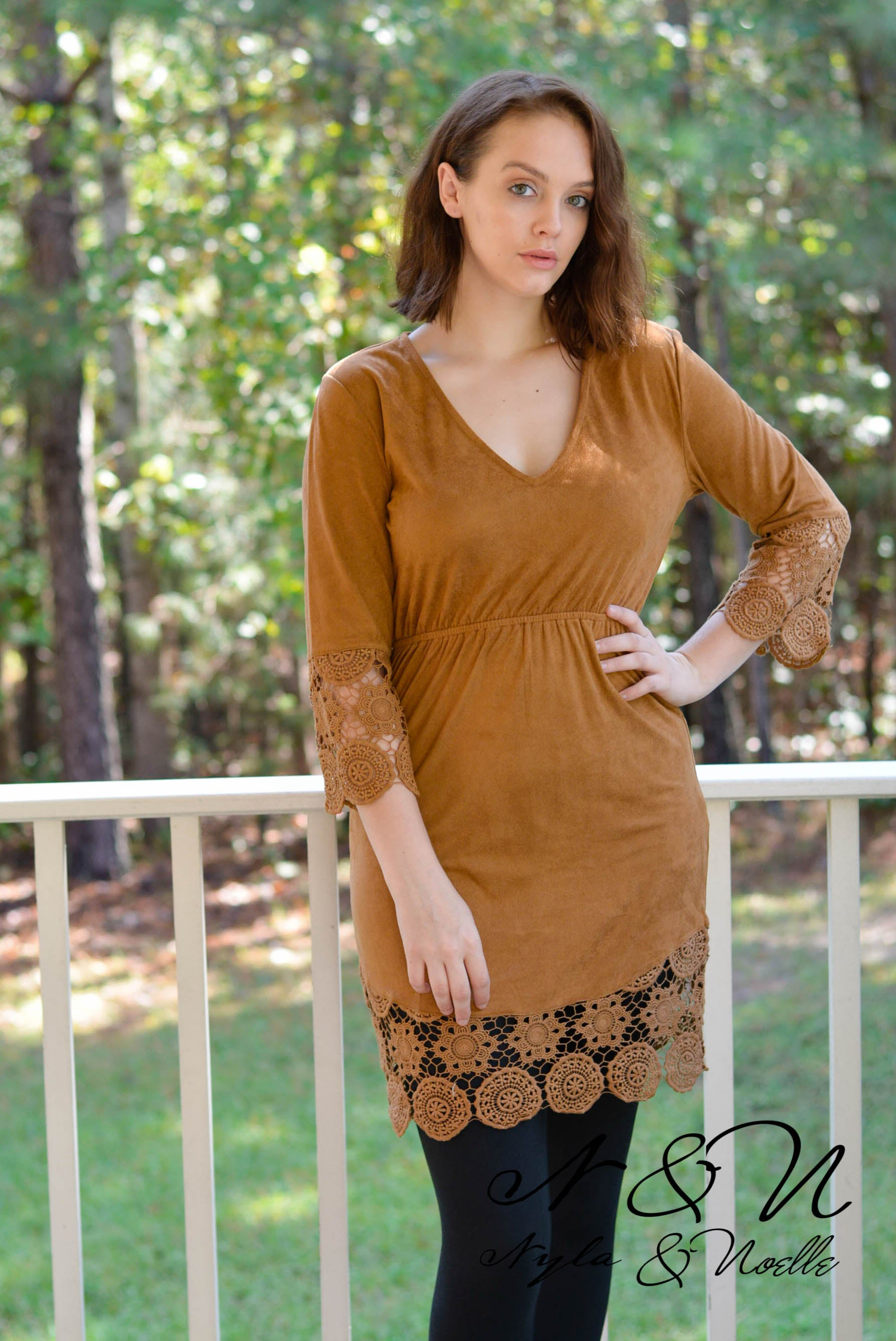 CHARLY - Micro-Suede Long Tunic or Leggings Dress with Crochet Lace Accents