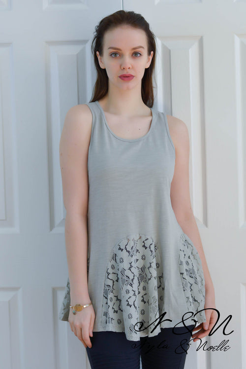 CORALYN - Soft Sage Lace Hem Lux Vintage Fabric Tank Top
