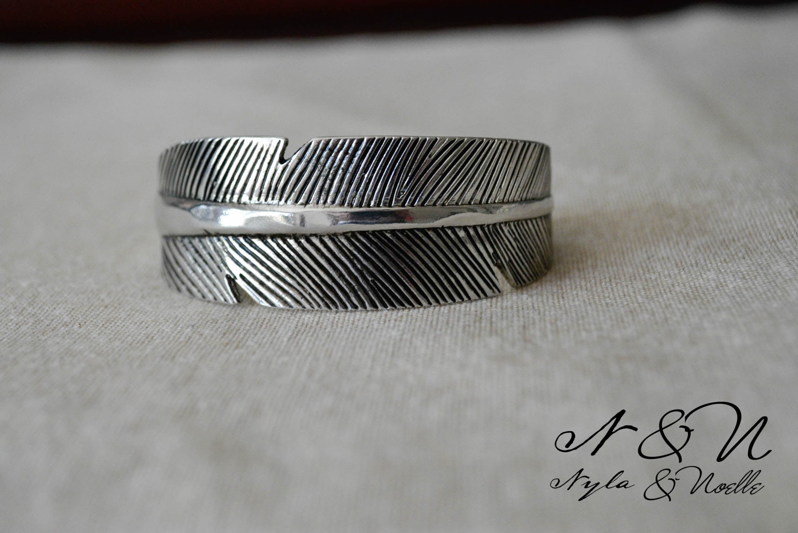 FEATHER IN YOUR CAP - Antique Silver Tone Boho Feather Wrap Cuff Bracelet