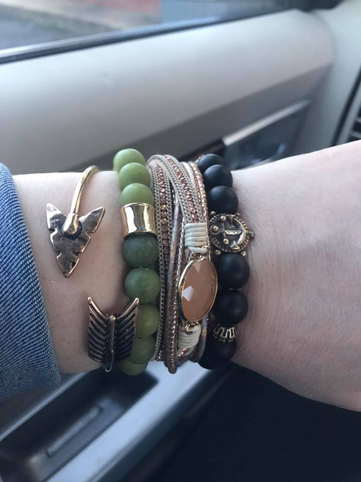 Create-A- Stack ANCIENT MOSS - Green Natural Stone Bead Bracelet