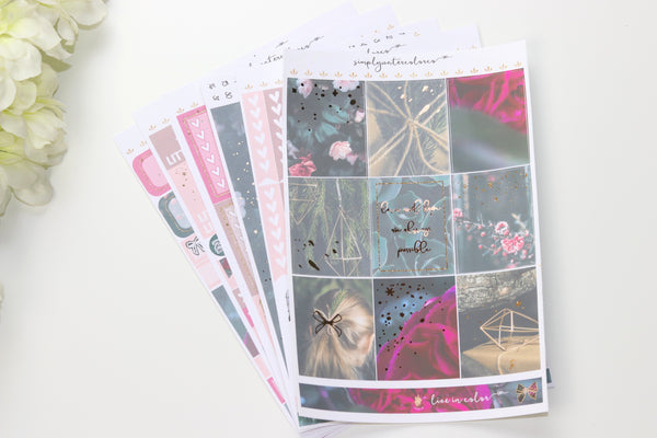 FOIL Aura Deluxe Kit (Rose Gold Foiled) // ECLP Planner Stickers
