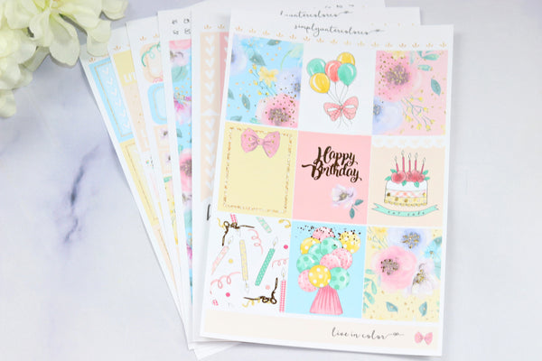 FOIL Birthday Deluxe Kit (Gold Foiled) Sparkle // ECLP Planner Stickers