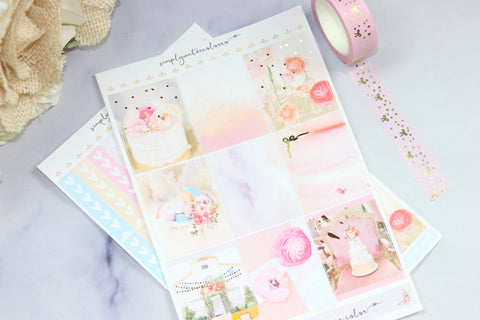 FOIL Garden Party (March Sub) Deluxe Kit (Gold Foiled) Sparkle// ECLP Planner Stickers