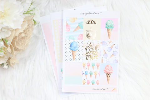 FOIL Dolce Vita MINI Kit (Gold Foiled) // ECLP Planner Stickers