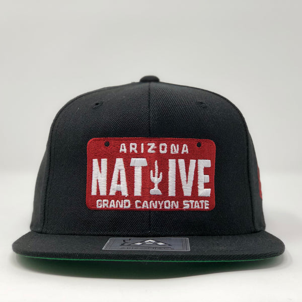 Native License Plate Flatbill Snapback Cap - Black