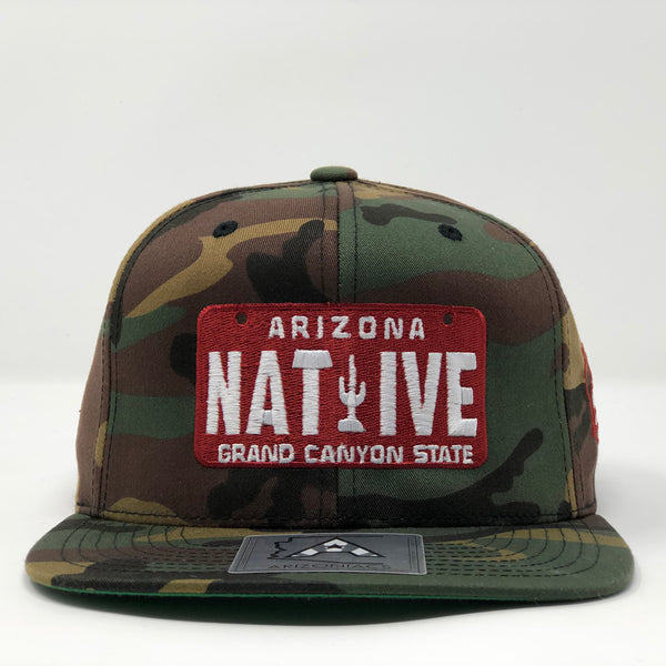 Native License Plate Flatbill Snapback Cap - Camo