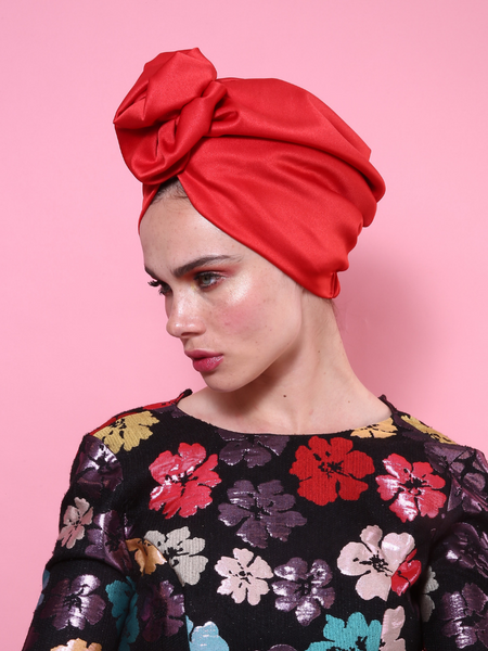 Flower Turban in Shiny Red