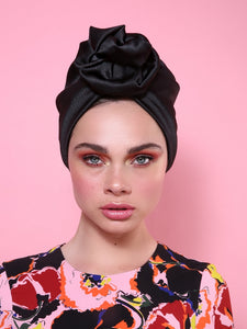 Flower Turban in Shiny Black
