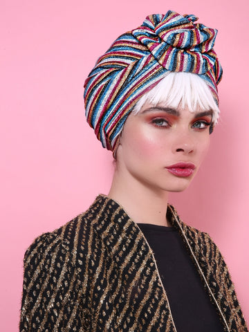 Stripped Colorful Shiny Turban