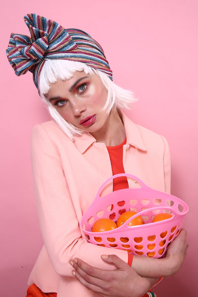 Stripped Colorful Glitter Lurex Turban