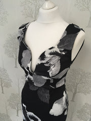 Ellis Black Floral Sleeveless Wrap Dress