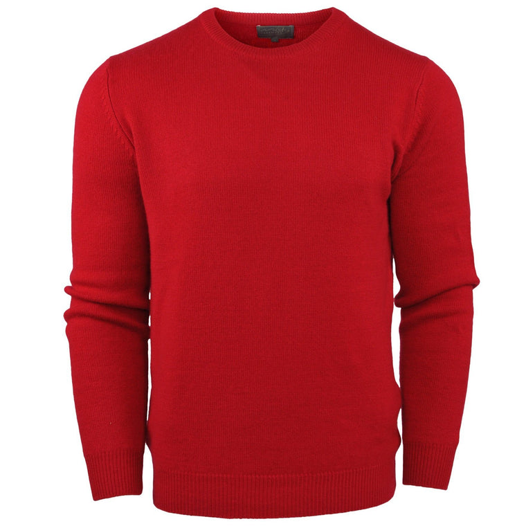 Men's Pure Cashmere Thick Knit Crew Neck Jumper in Red