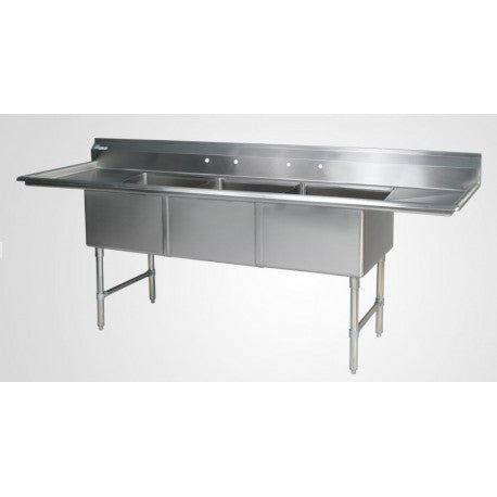 "ECS32D24 102"" 3 Compartment Sink with 24"" Drainboards - Food Service Supply"