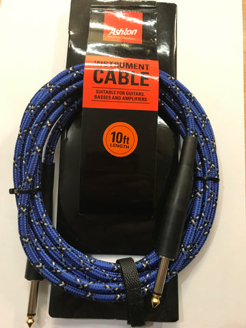 010 Ft Guitar Cable Woven Python Blue