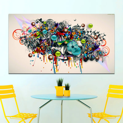 Abstract Blossomed Flowers Graffiti Canvas Painting