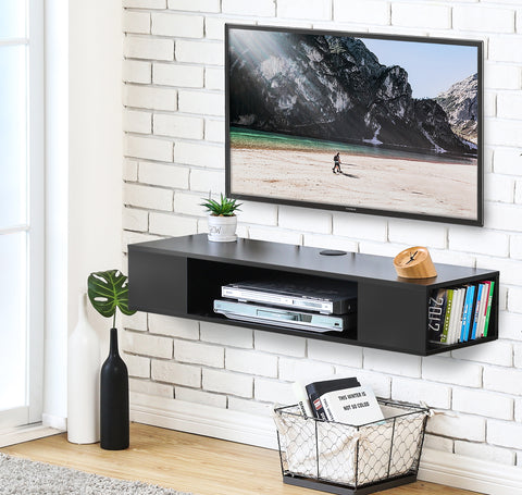 FITUEYES Wall Mounted Media Console,Floating TV Stand Component Shelf,Black ,DS210003WB