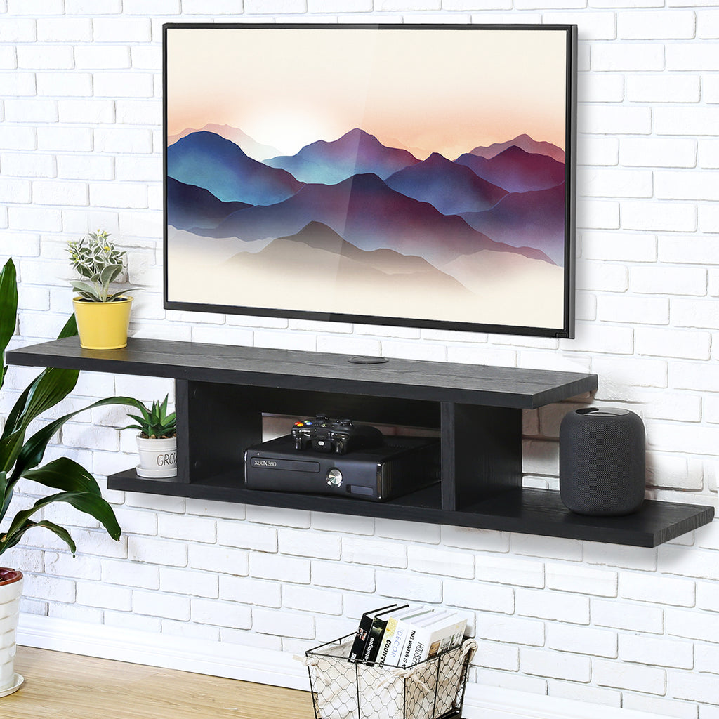 FITUEYES Wall Mounted Media Console,Floating TV Stand Component Shelf,Black Grain,DS211801WB