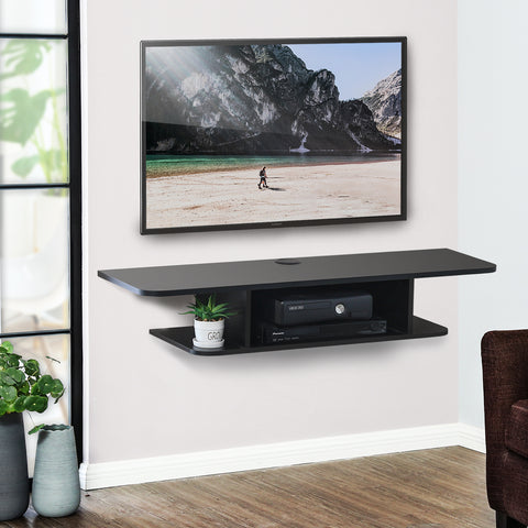 FITUEYES Wall Mounted Media Console,Floating TV Stand Component Shelf,Black ,DS210501WB