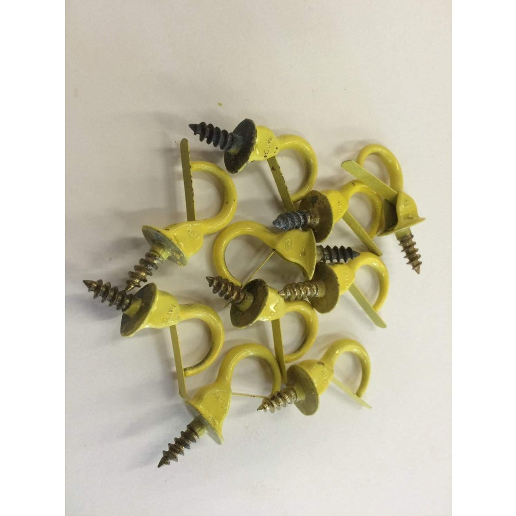 10 pcs Vintage Yellow Hardware Safety Cup Hooks 7/8