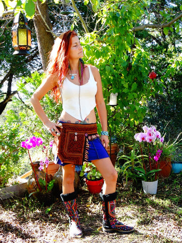 Tribal Hipster Belt with Pockets - Gaia