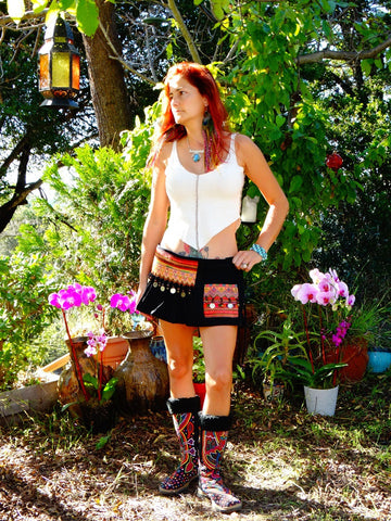 Tribal Hipster Belt/Skirt with Pockets - Natty
