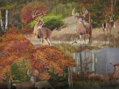 Forest deer wildlife digital photo Windham fabric
