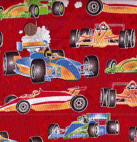 Race a Rama cars red Henry Glass fabric