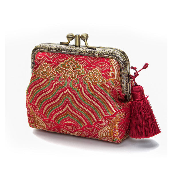 Handmade Coin Purse pouches Chinese style wallet change pouch purse wallet w metal frame Clasp purse