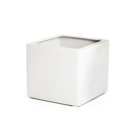 Ceramic Cube Pot - Assorted Colours (8cm x 8cm)