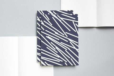 Navy & White Dash Patterned A5 Notebook