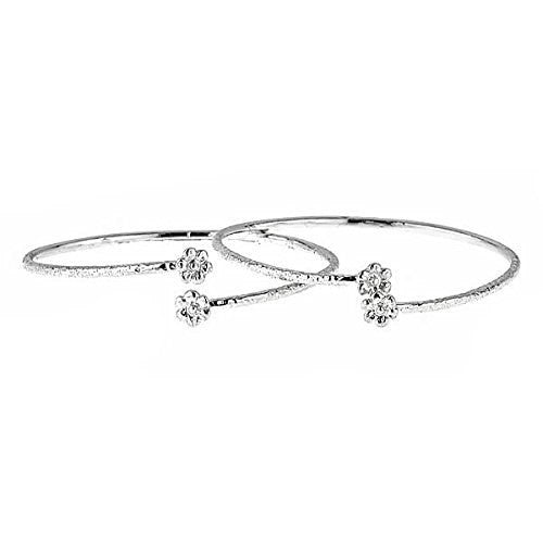 Flower Ends .925 Sterling Silver West Indian BABY Bangles (Pair) (Made in USA) - Betterjewelry