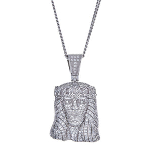925 Sterling Silver Jesus Face / Head Fine Micro Pave Charm Pendant and Miami Cuban Style Chain - Betterjewelry