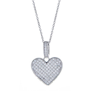 Dear Heart CZ Micro Pave Pendant with Rolo Chain  .925 Sterling Silver Set - Betterjewelry