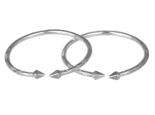 Pyramid .925 Sterling Silver West Indian Bangles (Pair) (Made in USA) - Betterjewelry