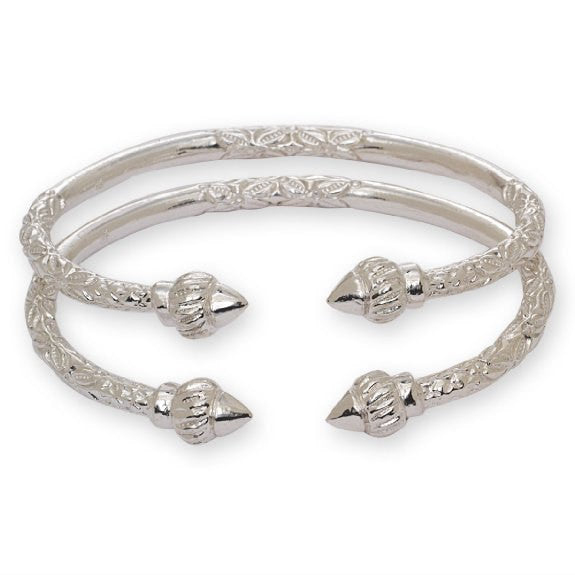 Ridged Arrow .925 Sterling Silver West Indian Bangles (Pair 67g) (Made in USA) - Betterjewelry