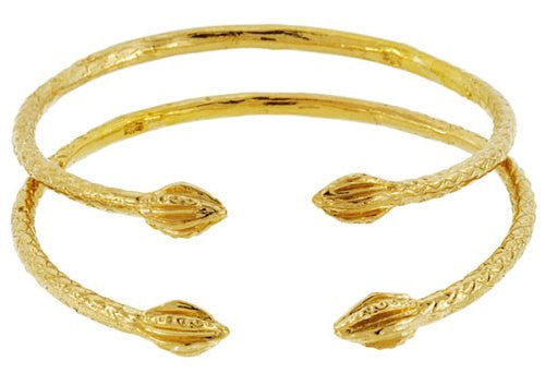 Baby Solid Sterling Silver West-Indian Bangle Set 14K Gold Plated - Betterjewelry