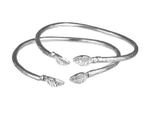 Leaf .925 Sterling Silver West Indian Baby Bangles (Pair) - Betterjewelry