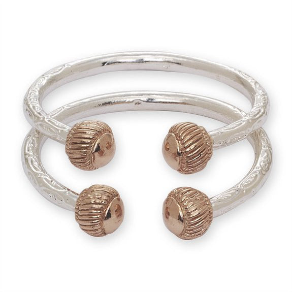 Heave Ridged Ball .925 Sterling Silver West Indian Bangles - Betterjewelry