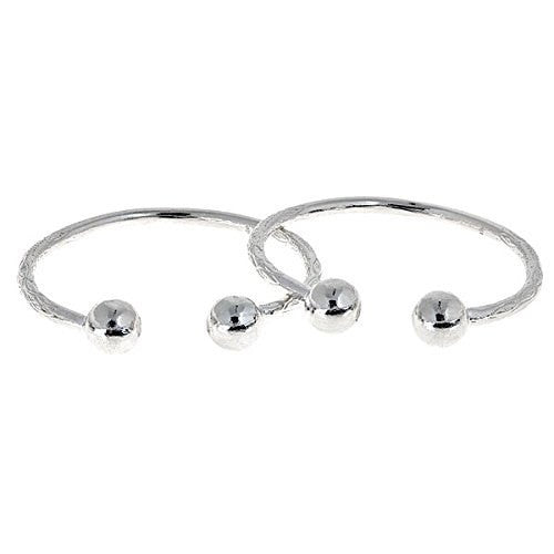 Huge Ball Ends West Indian Bangles .925 Sterling Silver (Pair) - Betterjewelry