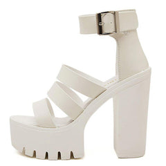 white buckle platform sandals boogzel apparel
