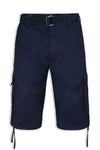 NEW Men Cargo Shorts With Drawstrings FREE BELT Size 30-38 Navy Blue Short