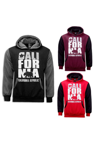 NEW Men Fleece California Cali Hooded Long Sleeve Sweaters 3 Colors ALL SIZES