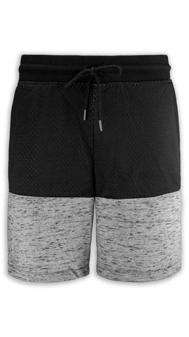 NEW Men Fleece Mesh Shorts 2 Tone Drawstrings Elastic Waist