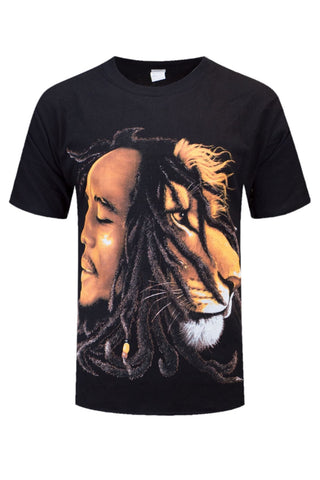 NEW Men Bob Marley Lion Braided Shirt Black ALL MEN SIZES Music Hippy
