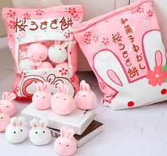 【Deal Of The Week】BIG! Kawaii Japan Plush Animal Pillow, 8 Bunny Dolls Inside Zipper Bag!