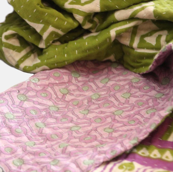 Blankets Small Cotton Throw - Lime and Lavender Fashion Ethical gifts and fair trade from For Dignity