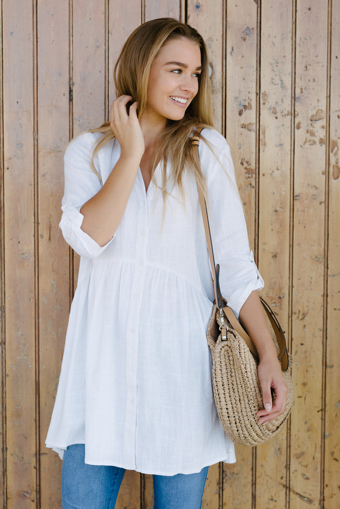 Women's oversized white shirt
