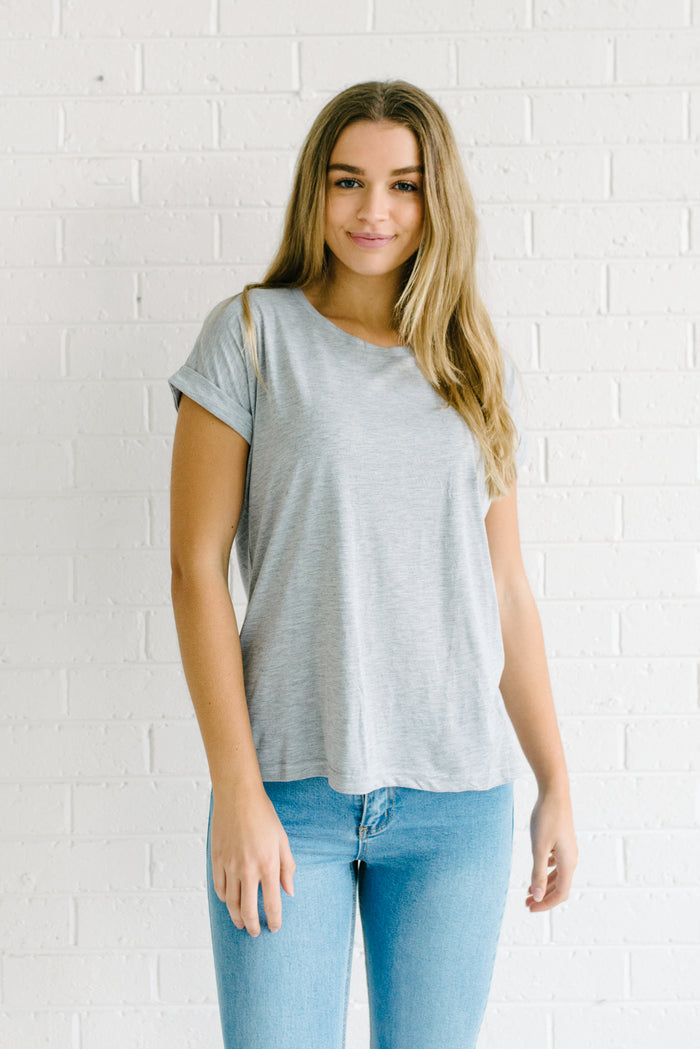 Roll Sleeve Tee - Grey