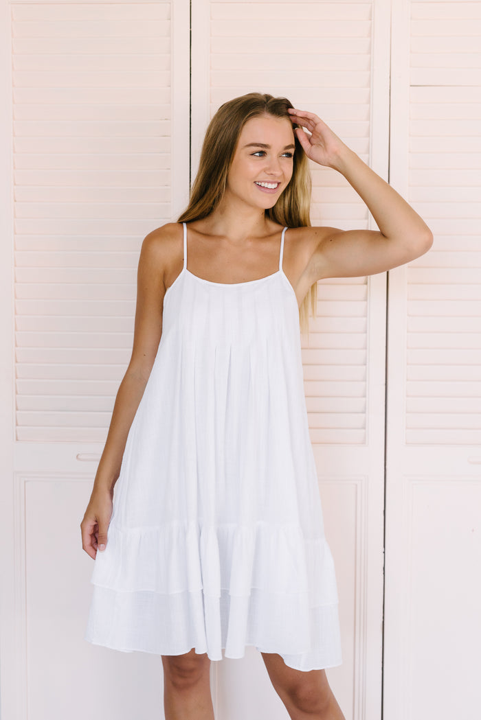 Women's white cotton sundress