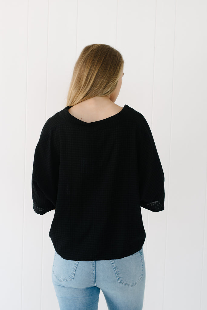 Tallow Tie Front Top - Black| summer | Betty Lane Womens Clothing Victoria